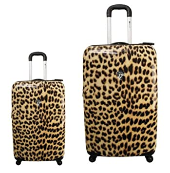 Equipaje, Maletas y Bolsas de Viaje - Premium Designer Maleta Rígida Set 2 Piezas - Heys Novus Art Leopardo Chiaro Equipaje de Mano + Trolley con 4 Ruedas ...