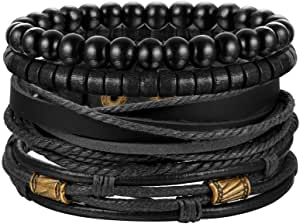 Jstyle 4-6Pcs Braided Leather Bracelet for Women Mens Cuff Bead Bracelet Set Adjustable Black and Brown