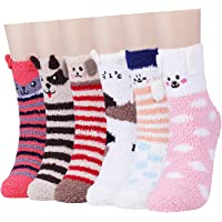 Fuzzy Socks for Women Winter Warm Soft Fluffy Socks for Home Sleeping Indoor Thick Cozy Plush Sock 4, 6 Pairs