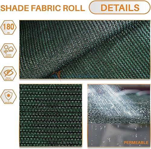 TANG Sunshades Depot 12 x150 Shade Cloth 180 GSM HDPE Dark Green Fabric Roll Up to 95 Blockage UV Resistant Mesh Net for Outdoor Backyard Garden Plant Barn Greenhouse