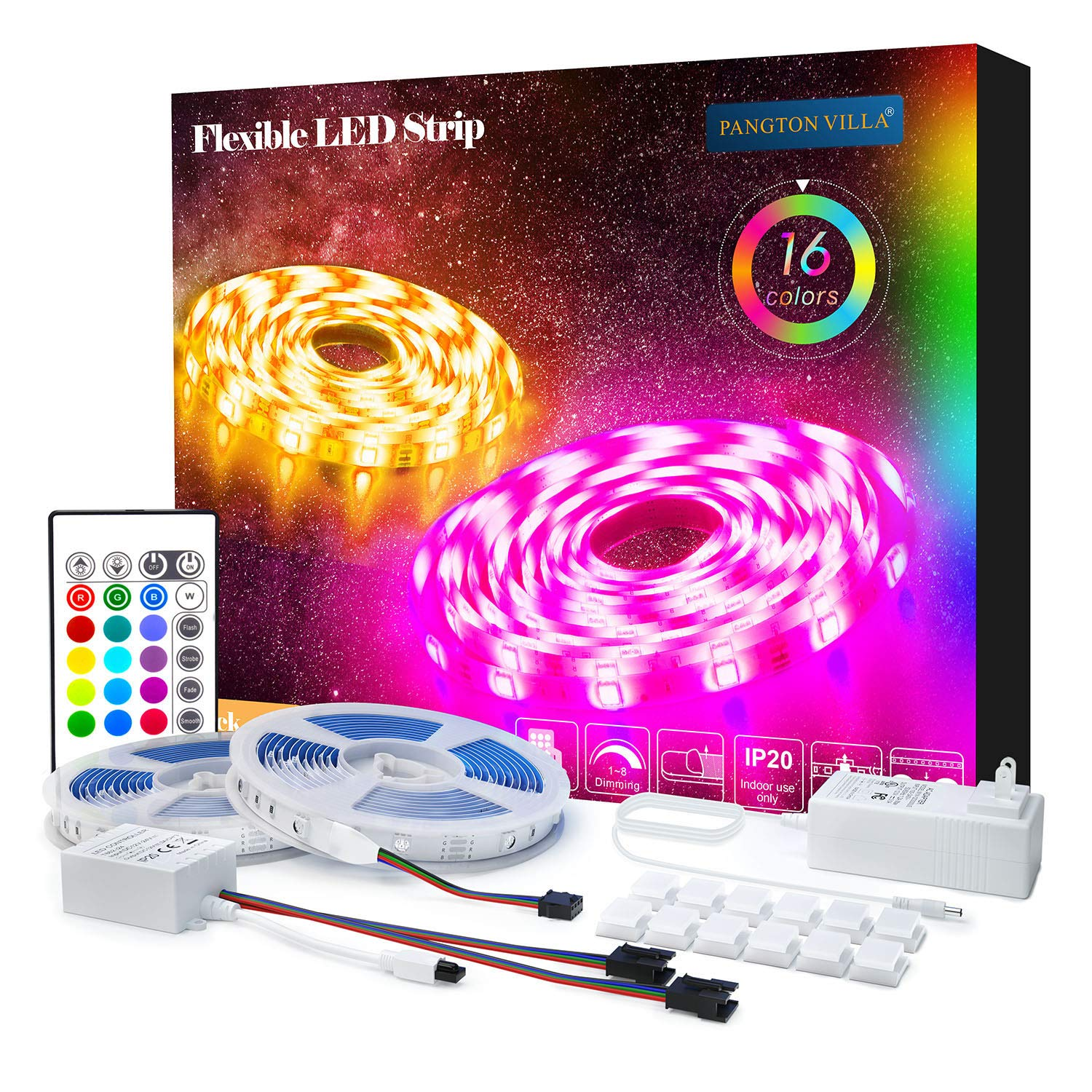 PANGTON VILLA LED Strip Lights 32.8ft, RGB 5050 LEDs Color Changing Kit with 24key Remote Control and Power Supply, Mood Lighting Led Strips for Home Kitchen Christmas Indoor Decoration