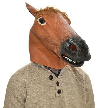 Overhead caballo cabeza completa máscara de látex de goma Fancy Dress Fiesta de Halloween accesorio