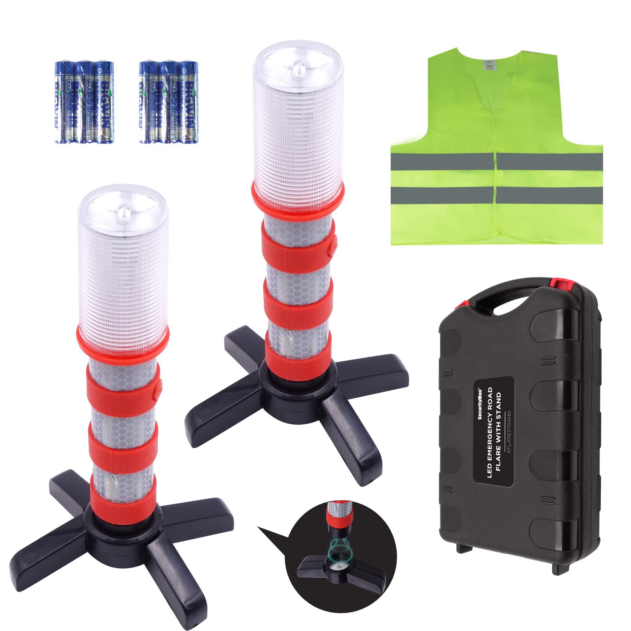 Securityman LED Road Flares (DOT Approved 2 Pack) for Roadside Emergency & Hazard Light Kit for Warning Traffic | Magnetic Base, Waterproof Case, Safety Vest for Cars and Trucks
