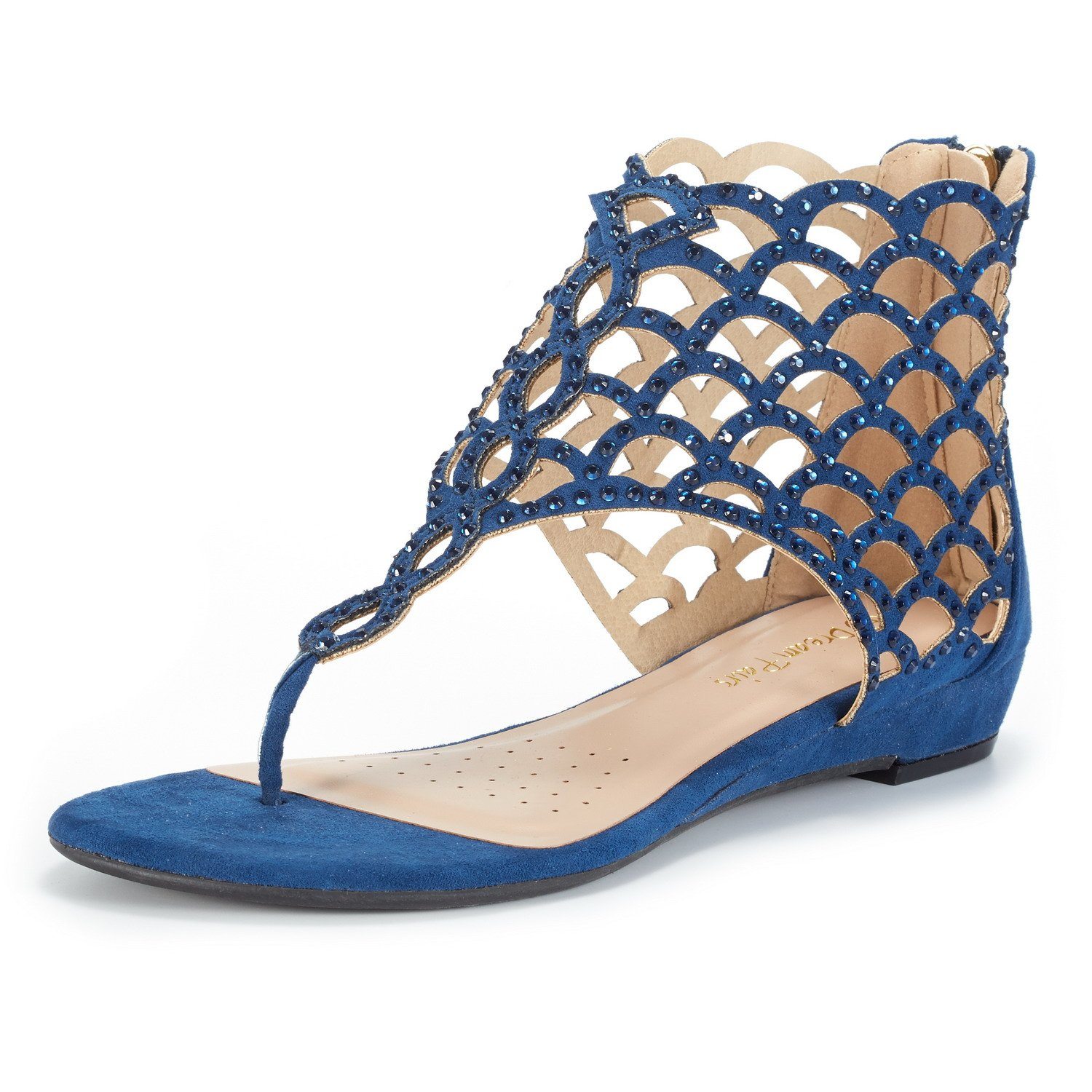 Women's Rhinestone Jewel Fish Scale Pattern Blue Ankle-High Flat Sandals - DeluxeAdultCostumes.com