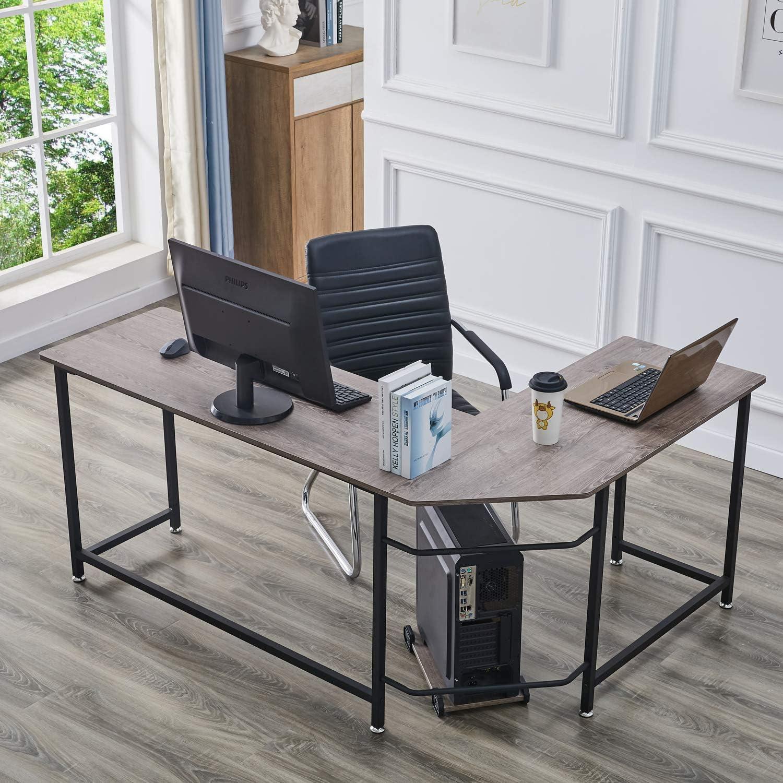 Symylife Modern L-Shape Corner Desk Computer Gaming Desk Table with Wooden Desktop for Office Home Furniture, Black Oak