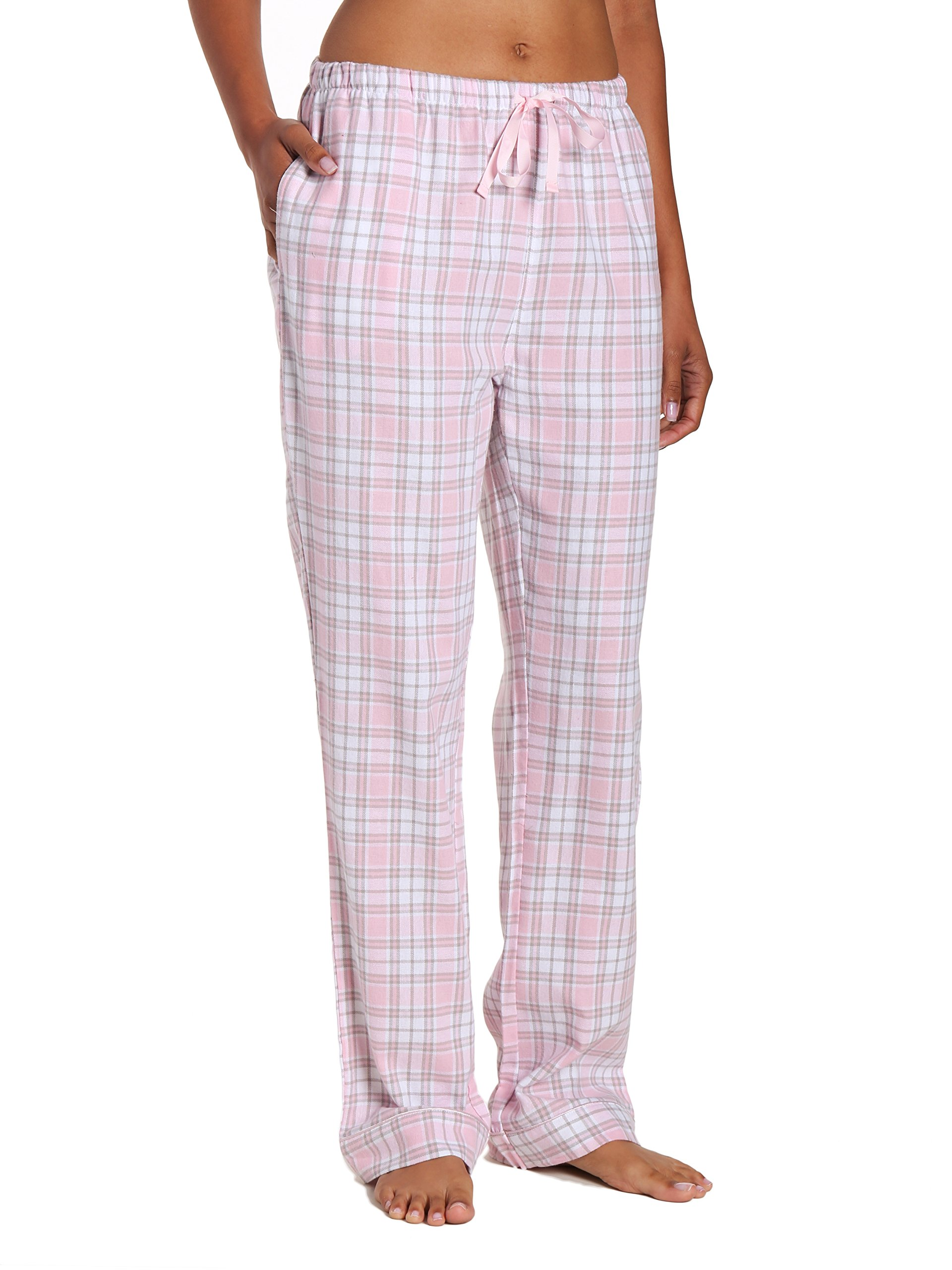 Noble Mount Women's Cotton Lightweight Flannel Lounge Pants - Plaid White-Pink - M