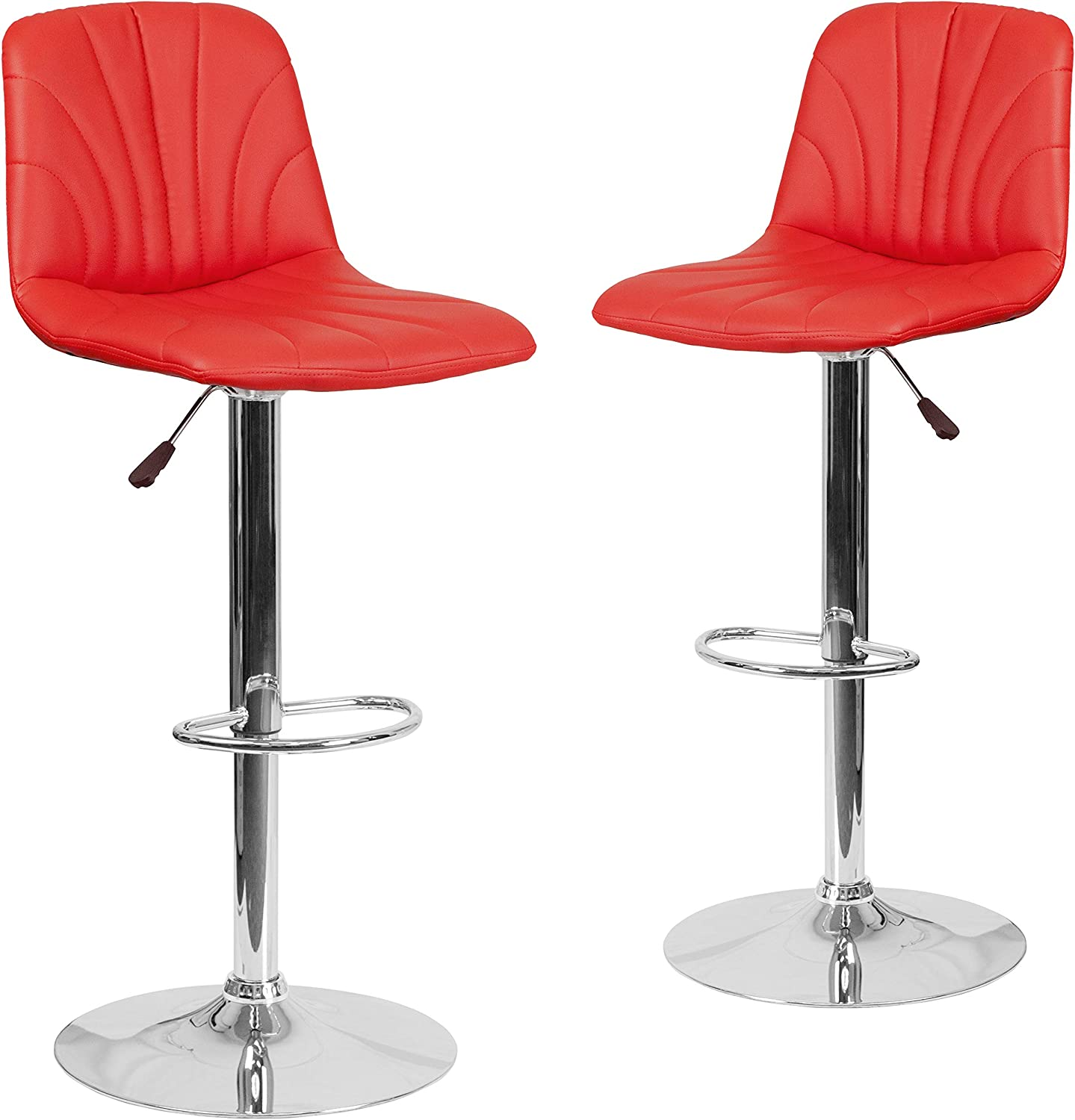 Flash Furniture 2 Pk. Contemporary Red Vinyl Adjustable Height Barstool with Embellished Stitch Design and Chrome Base