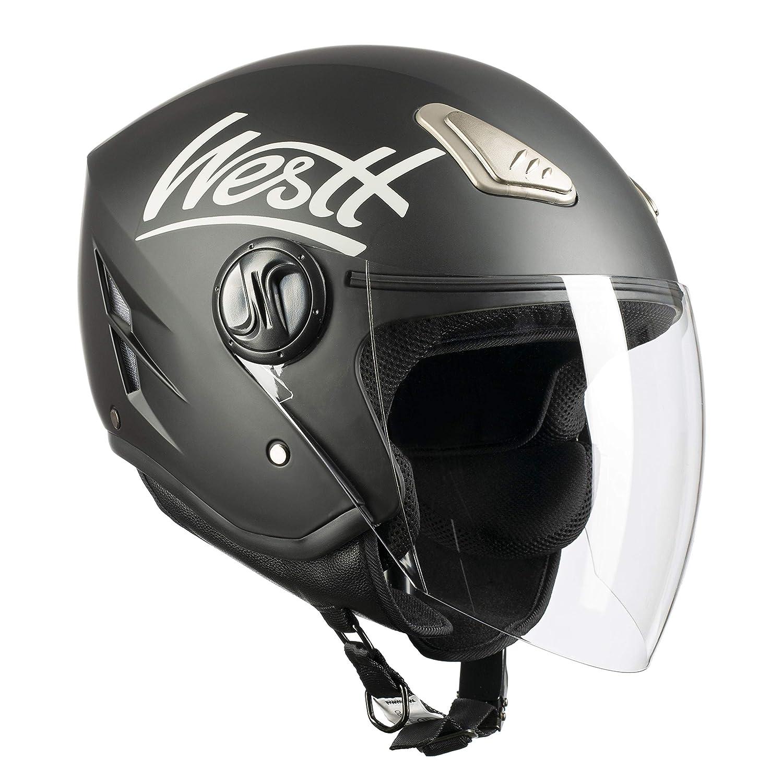 Westt/® Jet /· Casque Moto Jet en Noir Mat pour Scooter Chopper /· Casque de Moto Homme et Femme Demi-Jet /· ECE Homologu/é