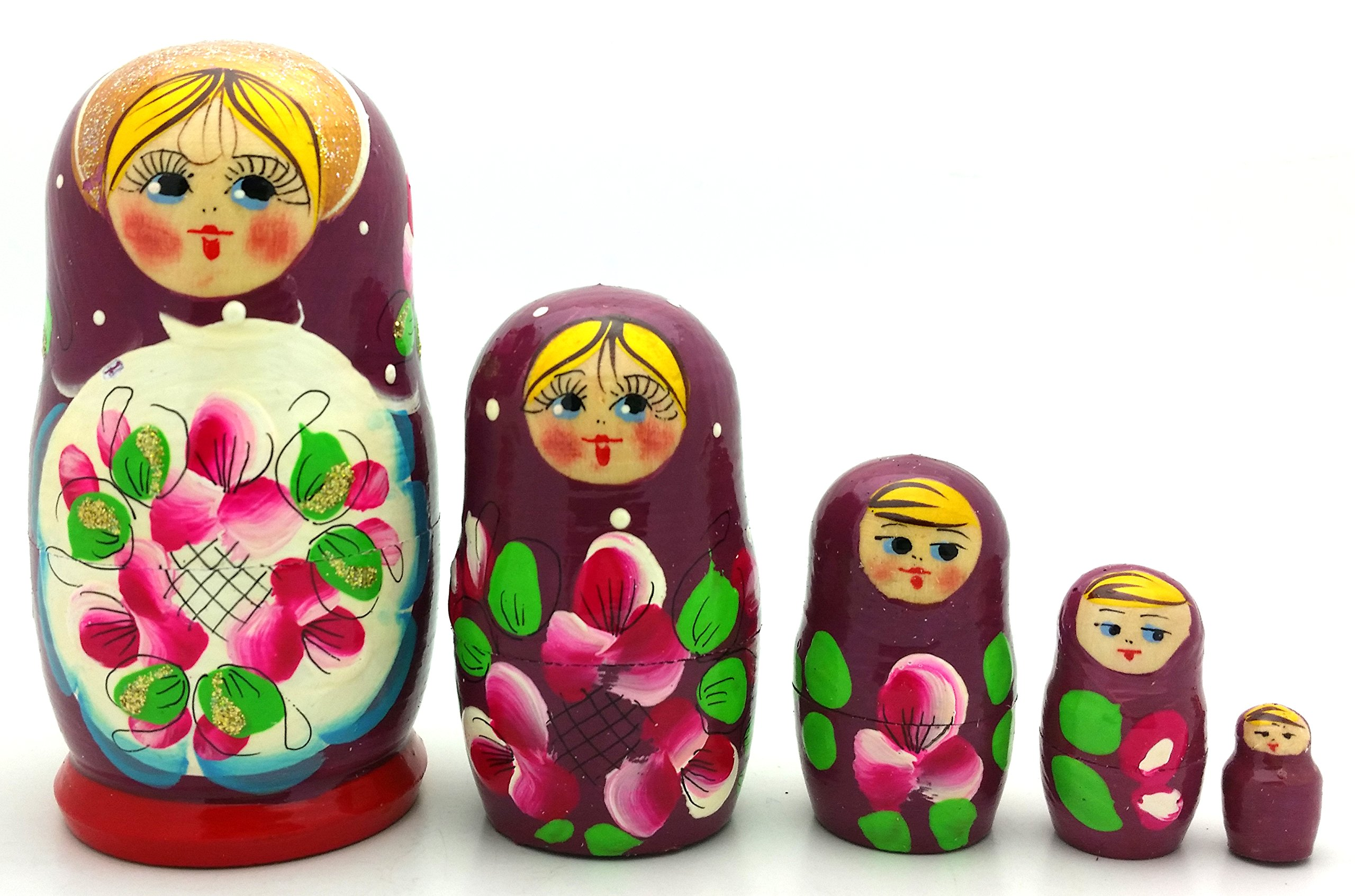 Lot of 3 Sets Russian Traditional Nesting Stacking Wooden Dolls Each Matryoshka Babushka set contains 5 dolls by BuyRussianGifts (Image #6)