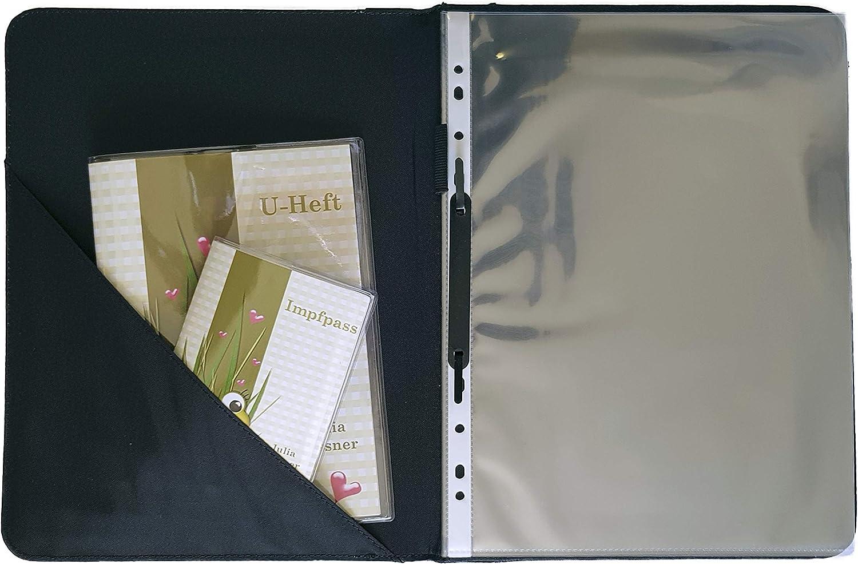 24 x 31 x 1 cm Z-O-1032-14 Kinder Zeugnismappe mit Namen personalisiert A4 Motiv Schmetterling Ornamente T/ürkis R/ücken schwarz CreaDesign