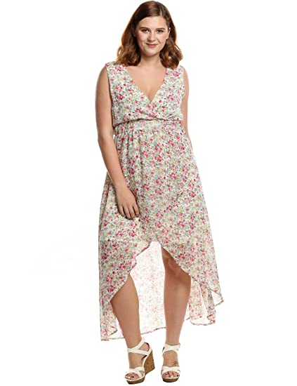 8806acdded857 Meaneor Women's Plus Size V-Neck Irregular Hem Floral Printed Chiffon Maxi  Dress