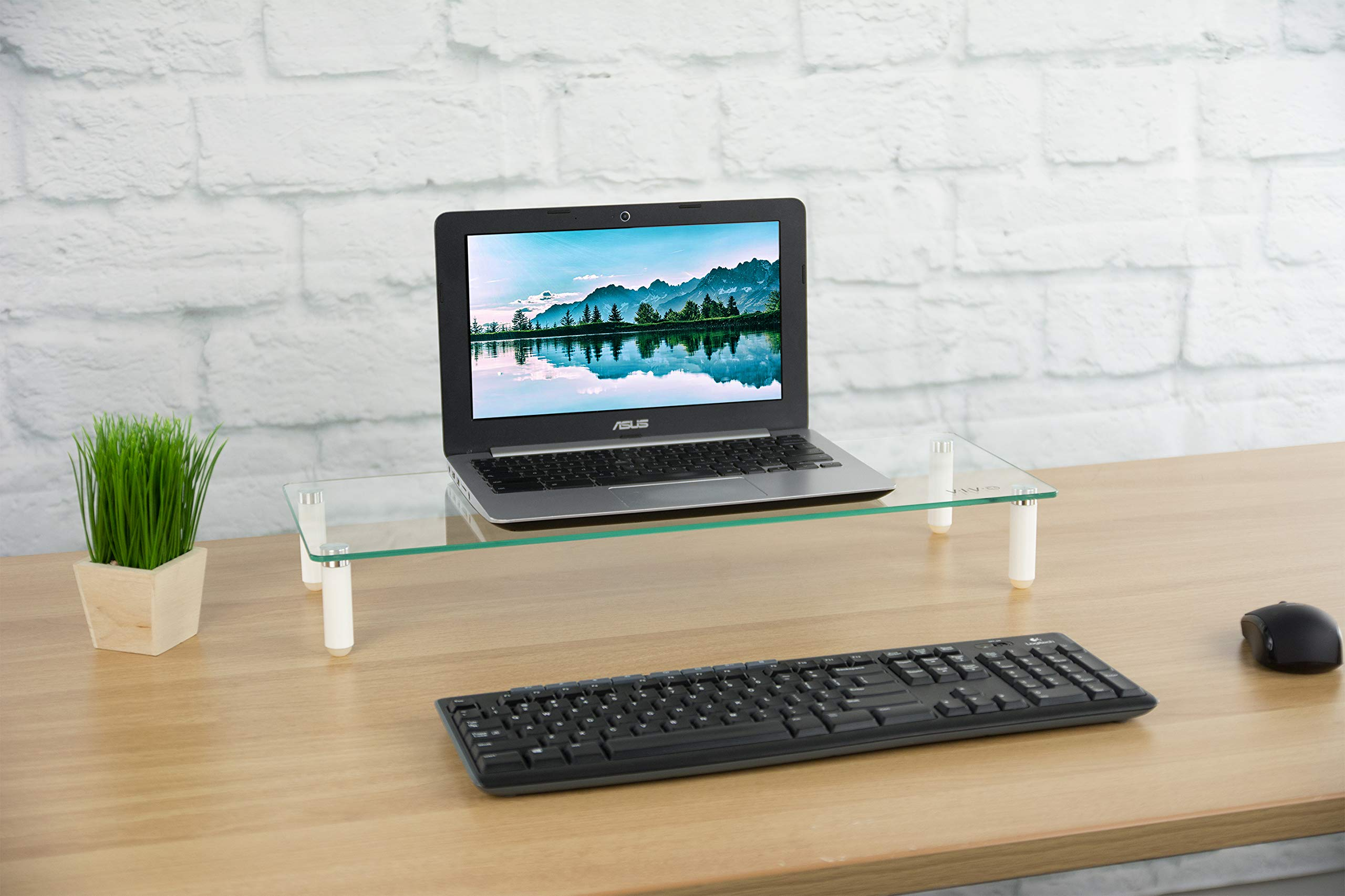 VIVO Glass Ergonomic Tabletop Riser/Desktop Stand for Computer Monitor, LCD LED TV, Monitor, Laptop/Notebook, and more (STAND-V000R) by VIVO (Image #5)
