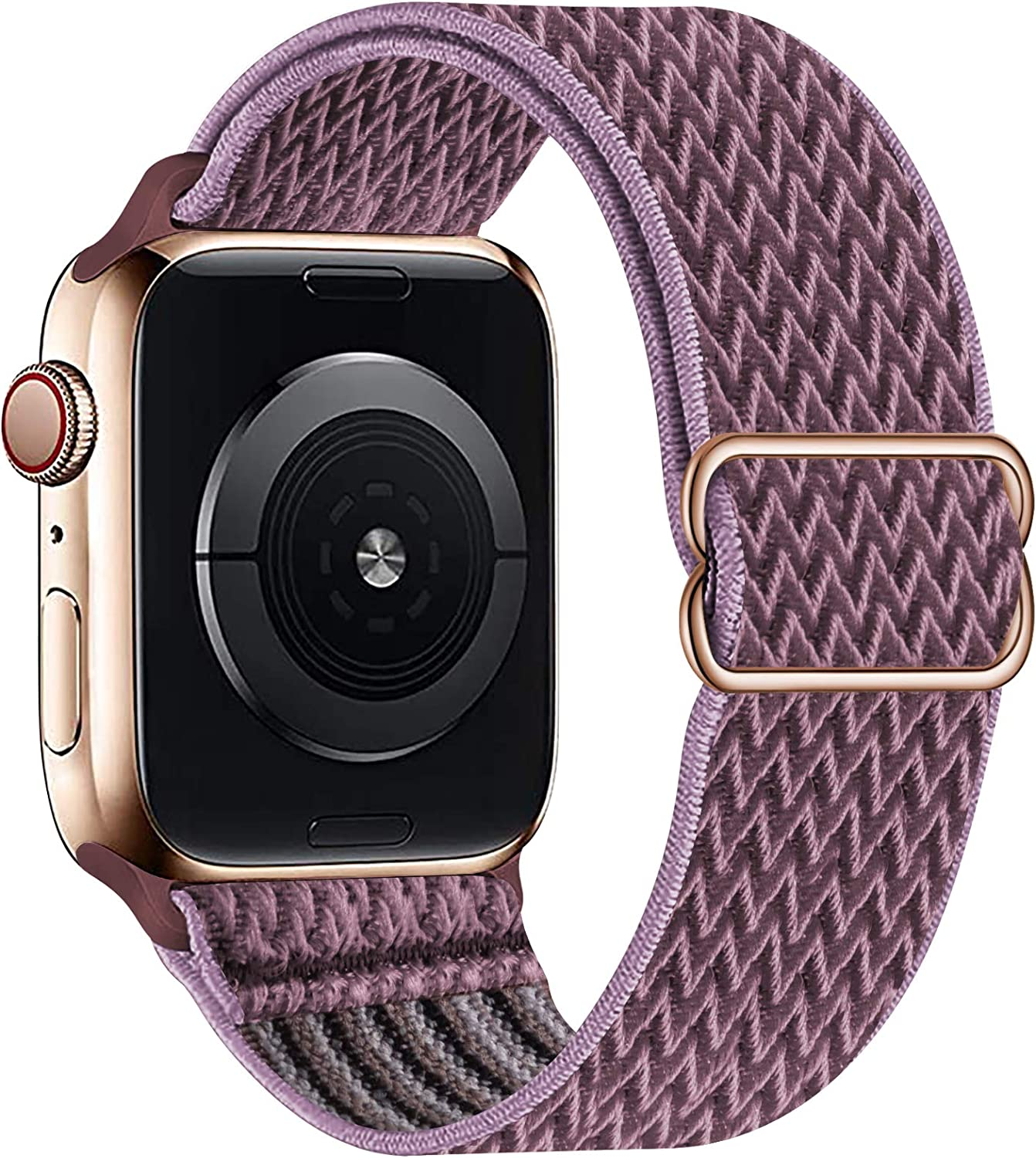 OHCBOOGIE Stretchy Solo Loop Strap Compatible with Apple Watch Bands 38mm 40mm 42mm 44mm ,Adjustable Stretch Braided Sport Elastics Weave Nylon Women Men Wristband Compatible with iWatch Series 6/5/4/3/2/1 SE,Smokey Mauve,38/40mm