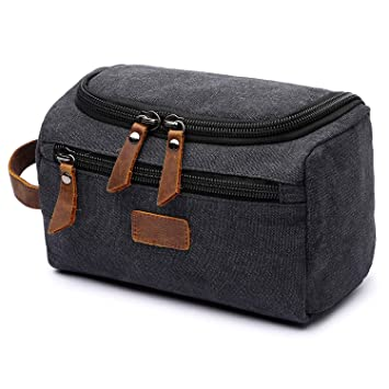 7f8d957c5ed Amazon.com   Mens Toiletry Bag, Yousu Small Canvas Multipurpose Organizer  Bags Travel Accessories carry on Bag Shaving Dopp Case Black   Beauty