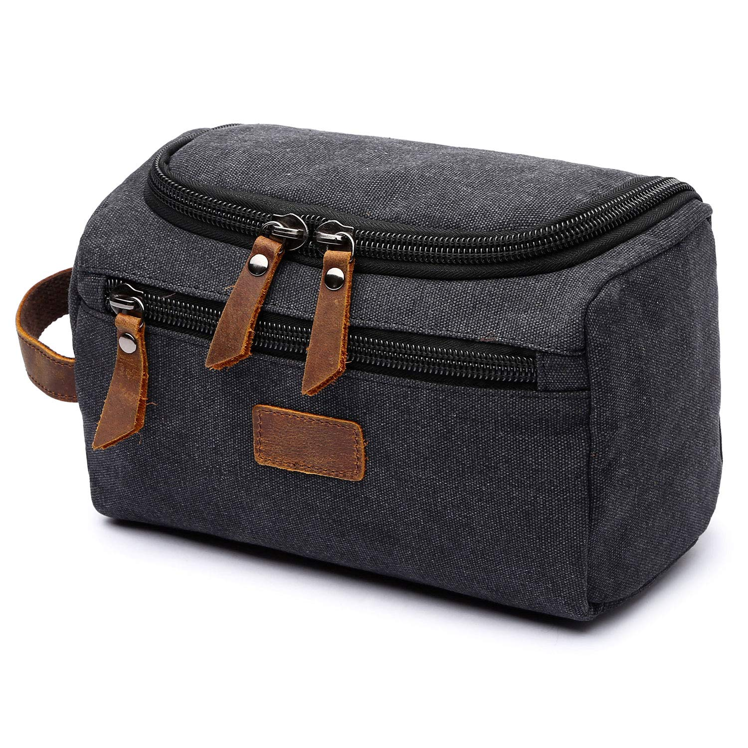 Mens Toiletry Bag, Yousu Small Canvas Multipurpose Organizer Bags Travel Accessories carry on Bag Shaving Dopp Case Black