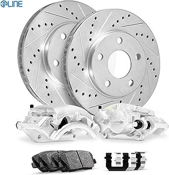 Ceramic Brake Pads Front Set eLine Black Zinc Drill//Slot Brake Rotors