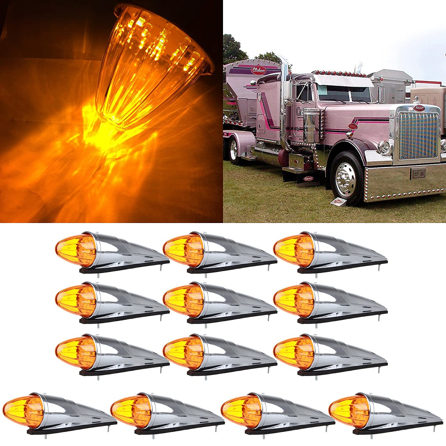 cciyu Amber 17 LED Cab Roof Light Chrome Torpedo Cab Marker Clearance Roof Running Top Light Assembly Replacement fit for Heavy Duty Trucks Kenworth Peterbilt Freightliner Mack (13Pcs) 805114-5210-1151381