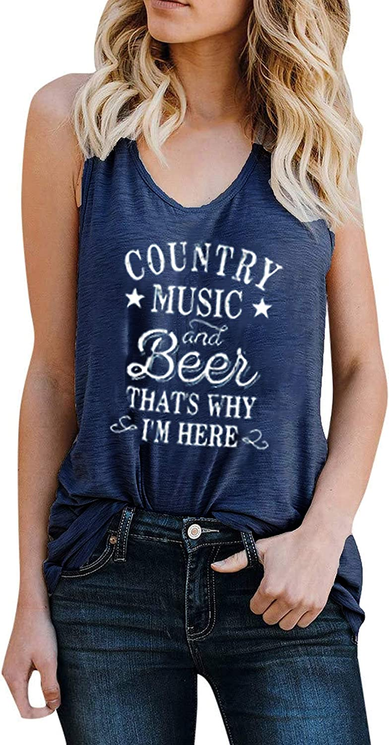 Women Country Music and Beer Funny Tank Tops Workout Vintage Cute Sleeveless Tees Shirt