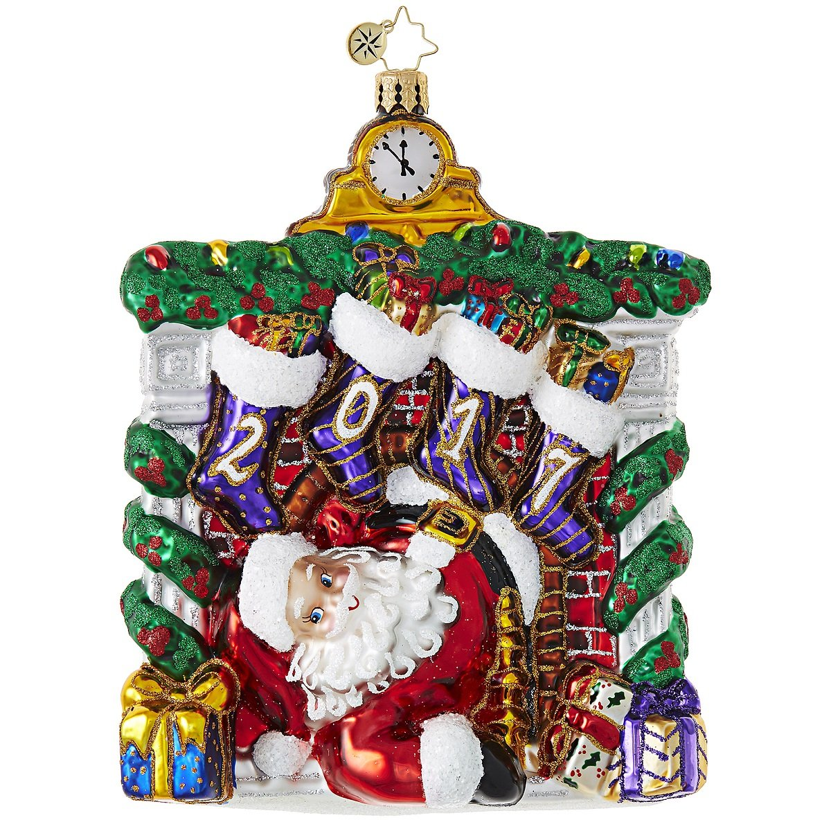 Christopher Radko 2017 Lookout Below! Santa Glass Christmas Ornament - 5''H. by Christopher Radko