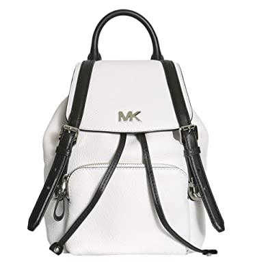 9e9a0558567e MICHAEL by Michael Kors Beacon Optic White and Black Small Backpack one  size Optic White