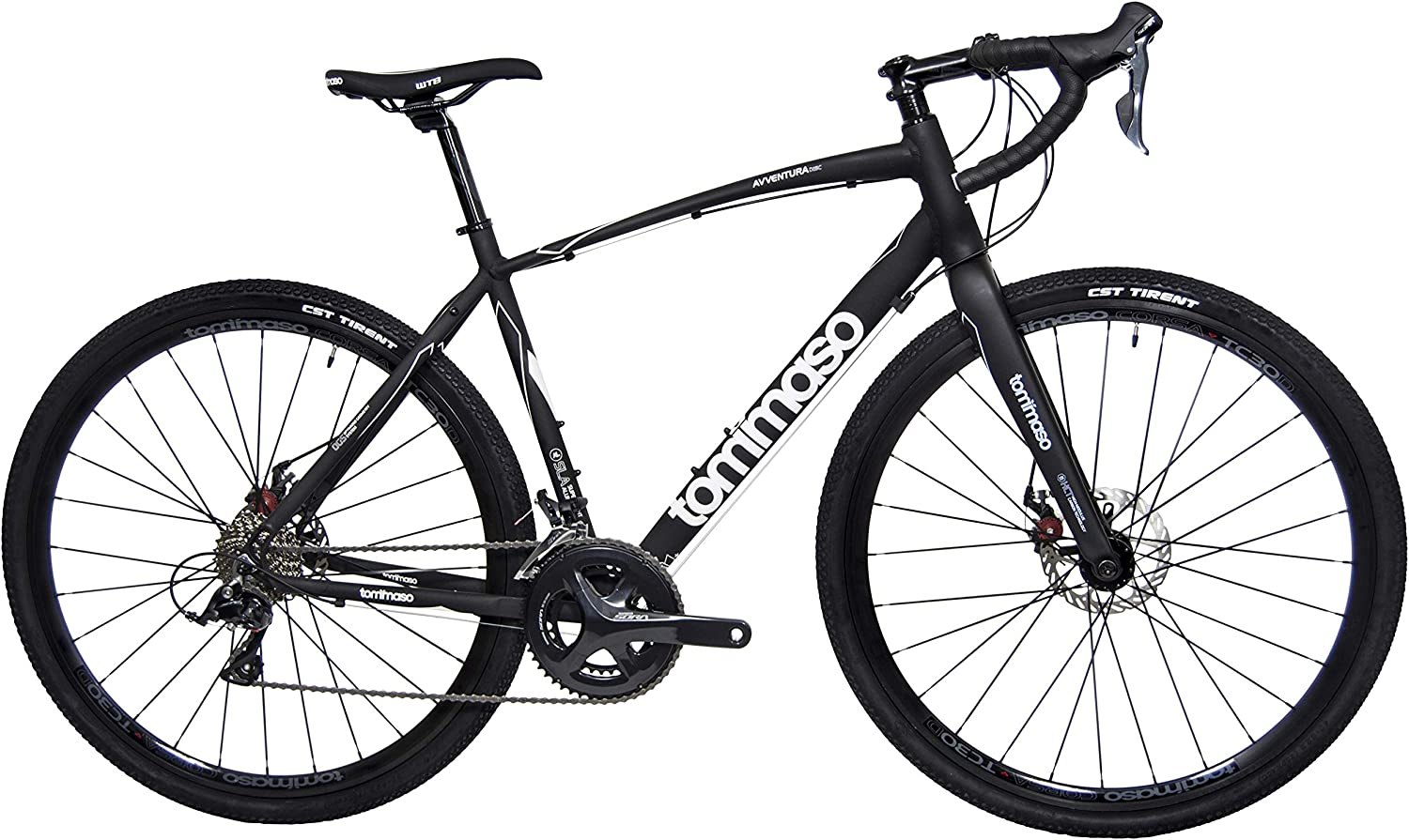 Tommaso Avventura Shimano Sora Gravel Adventure Bike with Disc Brakes, Extra Wide Tires, and Carbon Fork Perfect for Road Or Dirt Trail Touring, Matte Black
