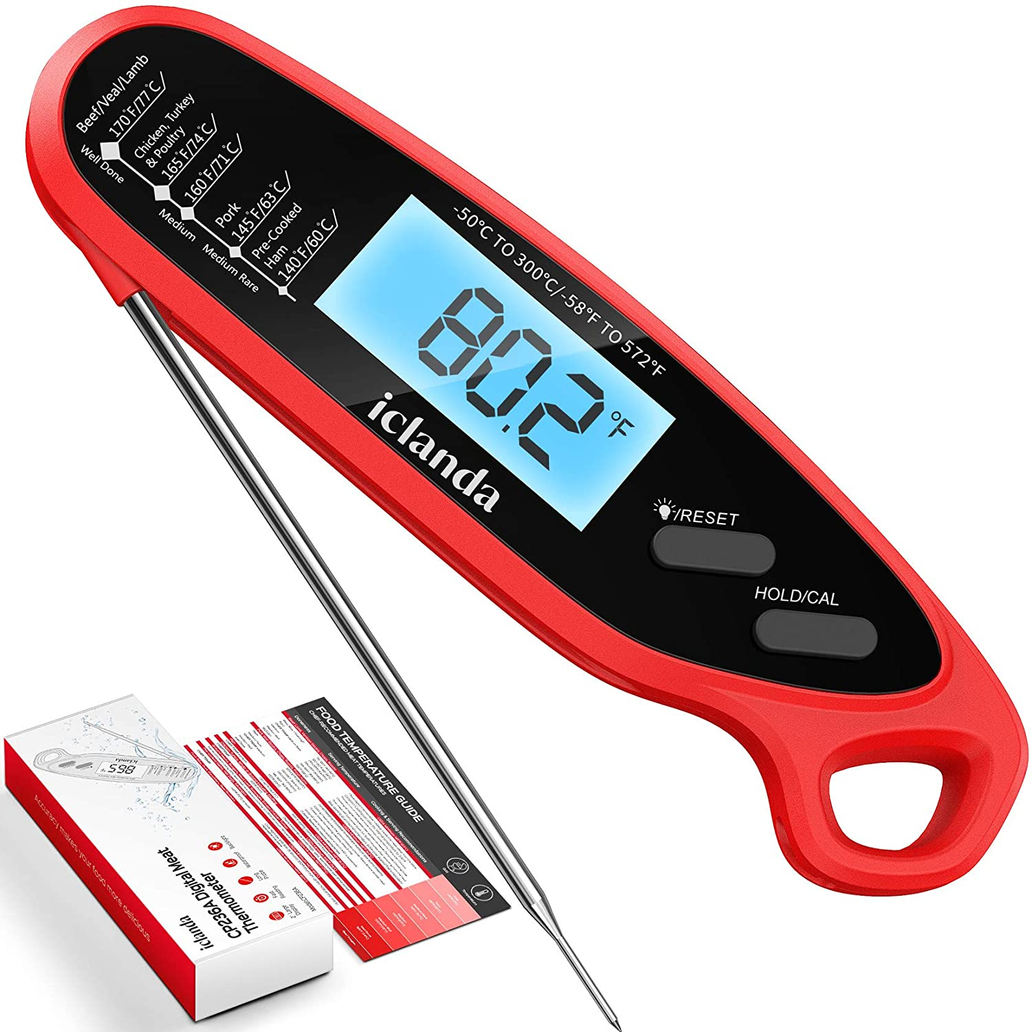 Iclanda Meat Thermometer, Digital Instant Read Cooking Thermometer with Backlight, Magnet, Calibration, Reset, Waterproof Digital Food Thermometer for Kitchen, Deep Fry, BBQ, Grill, Candy
