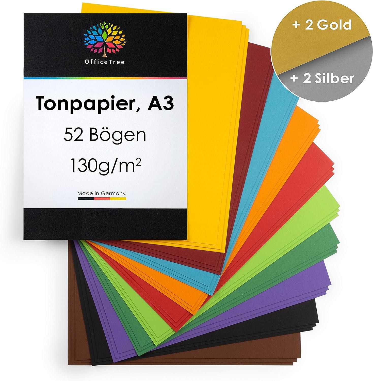 OfficeTree 52 Papel de Color A3-130g/m² niños cartulina para para ...