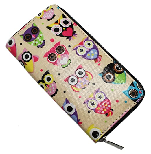 light tan colored luck owl wallet with purple pink and blue surreal