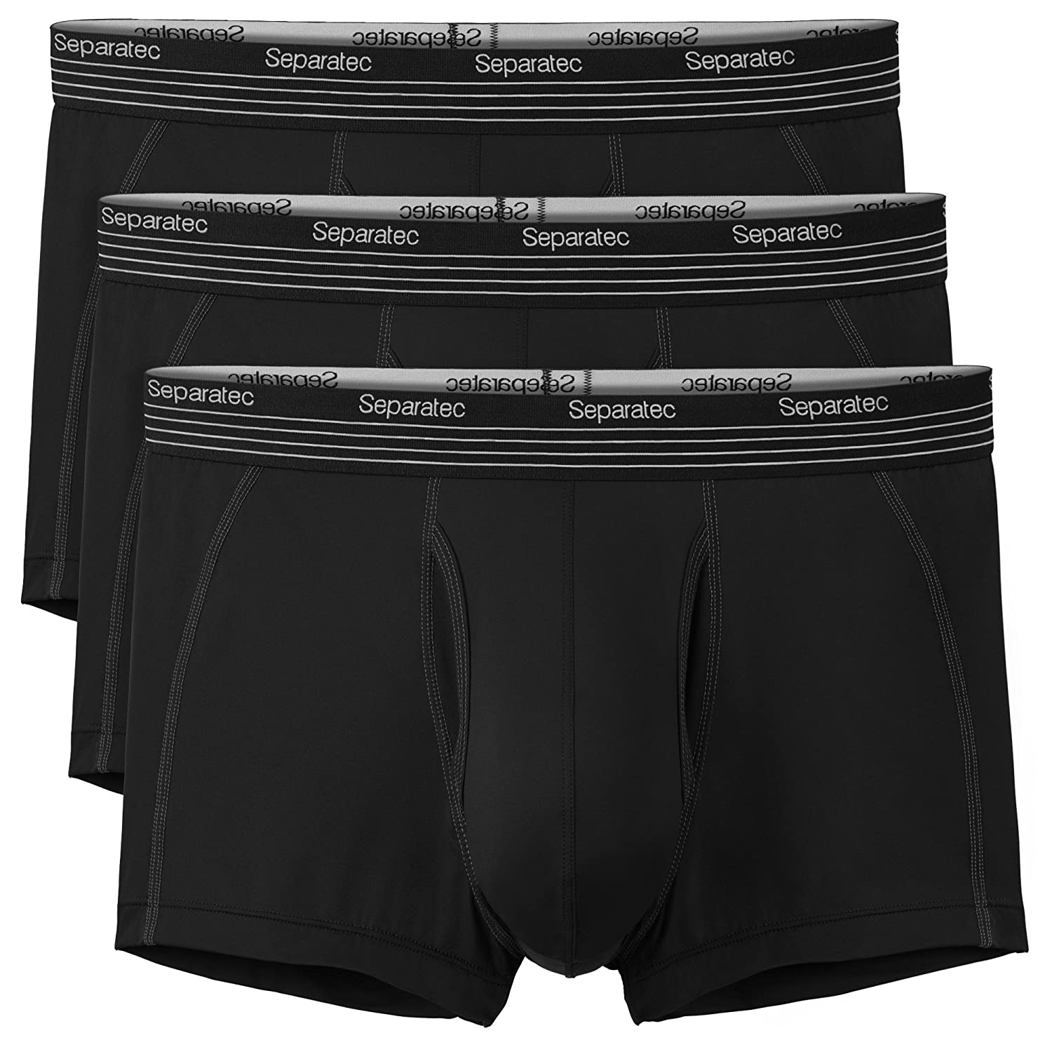 L, Black 3 Pack Fitted Trunks Mens Underwear Bamboo Rayon Trunks with Separate Pouches Tech Separatec Mens Basic Solid Ultra Soft Trunks Shorts