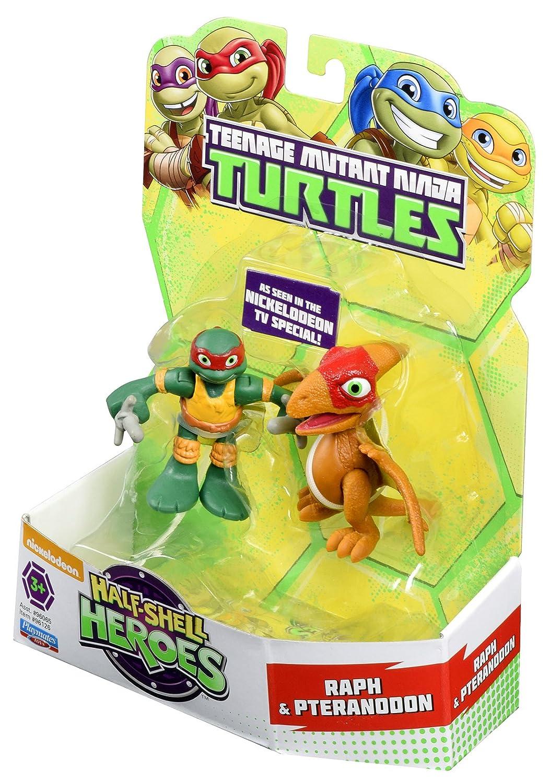 Las Tortugas Ninja Heroes Media Caja de Dino Raph y la Figura de acción de Pteranodon (Pack de 2)
