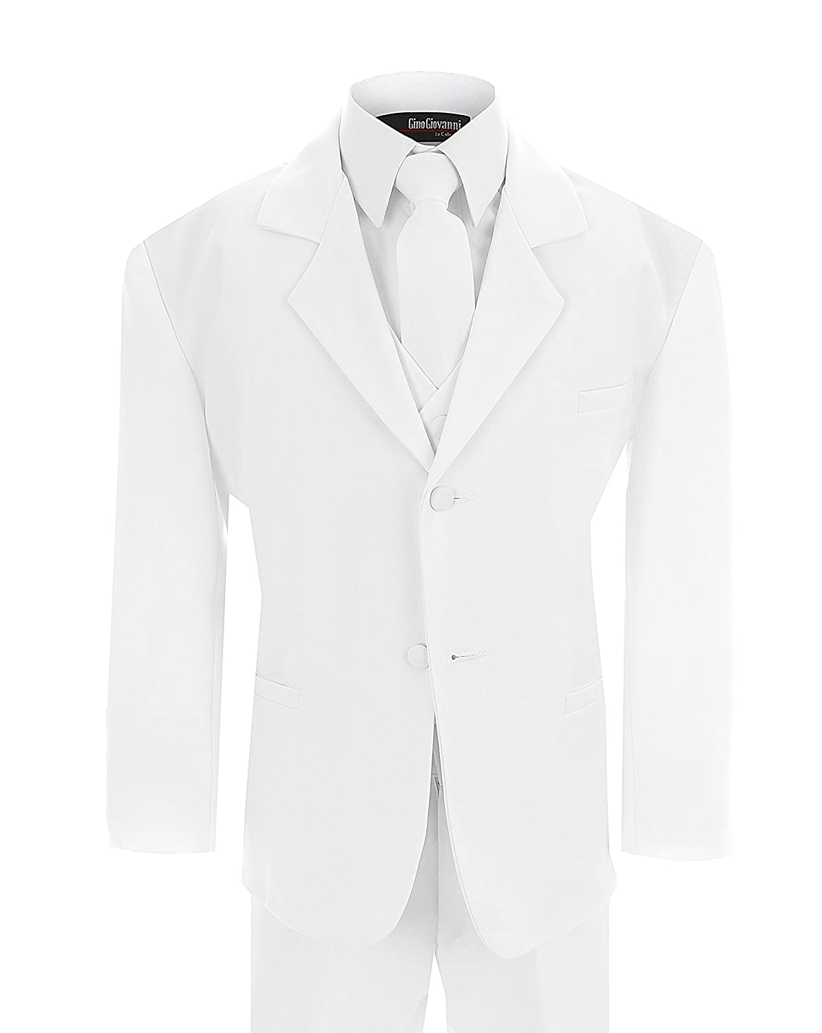 Gino Giovanni Little Boy's Formal Dresswear Set G214 (7, White Suit) GG214whitesuit7