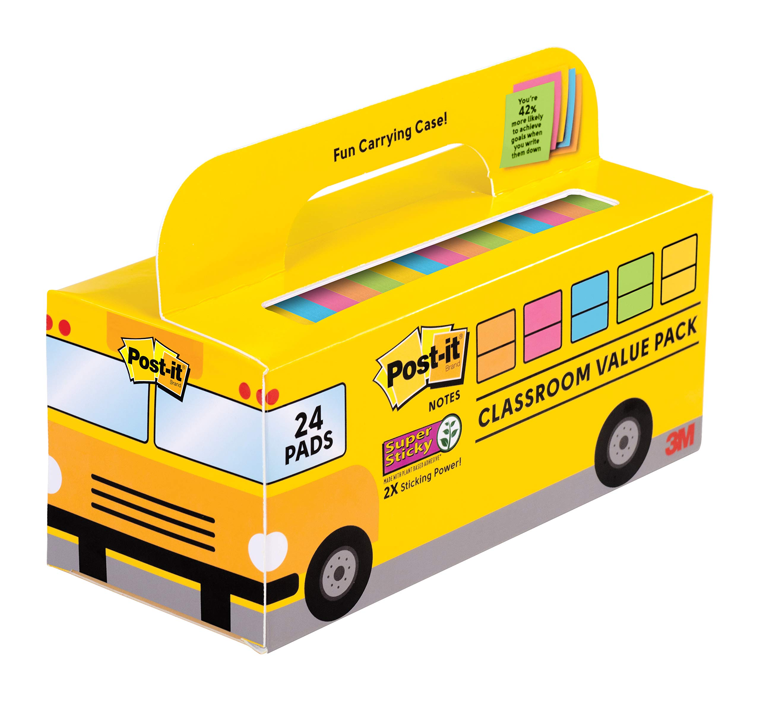 Post-it Super Sticky Notes Value Pack, 24 Pads/Pack, Convenient School Bus Carry and Storage Case, 2X The Sticking Power, 3 in. x 3 in, Bright Colors (654-24SSBUS) by Post-it
