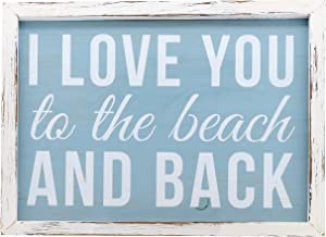 "Barnyard Designs I Love You to The Beach and Back Wooden Wall Sign Beach House Home Decor Sign 16"" x 12"""
