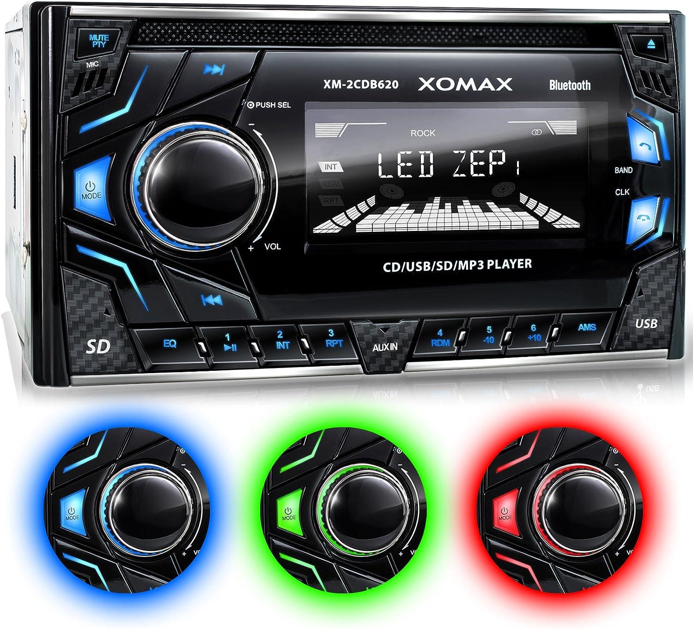 XOMAX XM-2CDB620 Autoradio CD-Receiver DIN 2 (doble DIN) Tamaño de montaje estándar + MOSFET 4x60 vatios + AUX-IN + 3 ajustables colores de iluminación: azul, rojo, verde + WMA + MP3 + USB y Micro SD