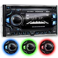 XOMAX XM-2CDB620 Autoradio avec Lecteur de CD + Connexion Bluetooth + 3 couleurs d'éclairage (rouge, bleu, vert) + Port USB (jusqu'à 128 GB) et fente pour cartes Micro SD (jusqu'à 128 GB) pour fichiers MP3 et WMA + Entrée AUX + 2x Sortie subwoofer + Dimensions standard DIN double (2DIN) + Télécommande et tiroir métallique inclus