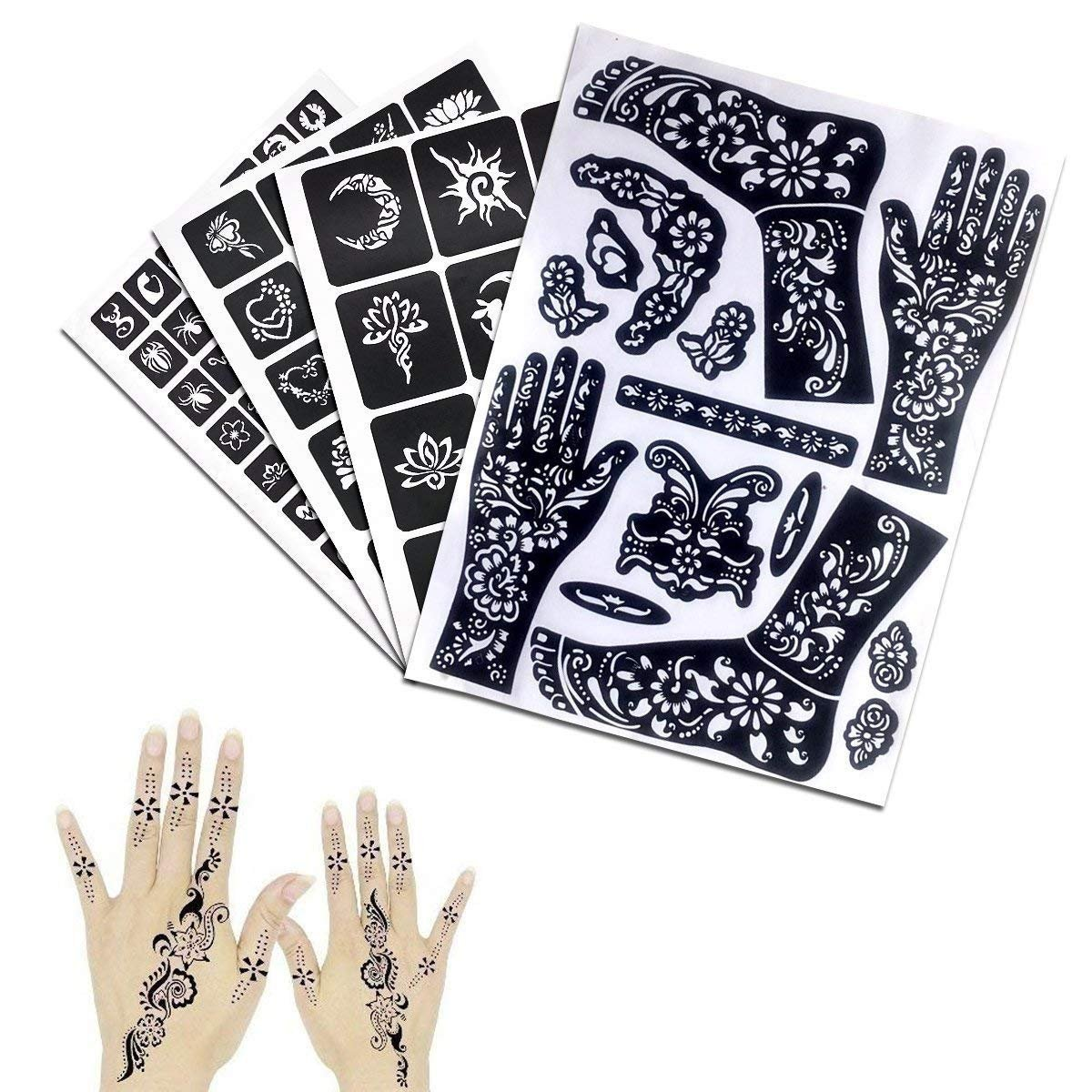 India Henna Tattoo Kit, Jessie 7 Packs Temporary Tattoo Paste Cone Body Art Painting Drawing with 120 pcs Free Henna Template Set,Black,Brown,Red,White,Blue, Rose-Carmine by Jessie (Image #3)