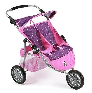 Amazon.es: Bayer Chic 2000 697 40 - DE Gemelos Jogger, Zwilling Carro para muñecas de hasta 50 cm, Dots Purple Rosa: Juguetes y juegos
