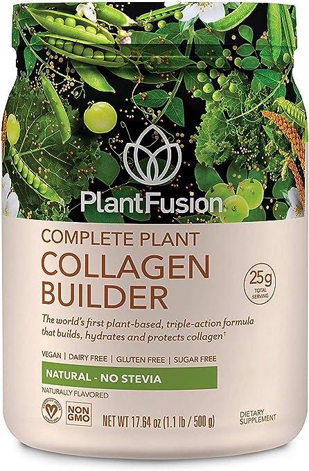 PlantFusion Collagen Builder Plant Based Peptides Protein Powder   Vegan Collagen Supplement  Collagen Building, Skin Hydration, Joint Support, Healthy Hair, Gluten-Free, Non-GMO, Unflavored, 17.64 Oz