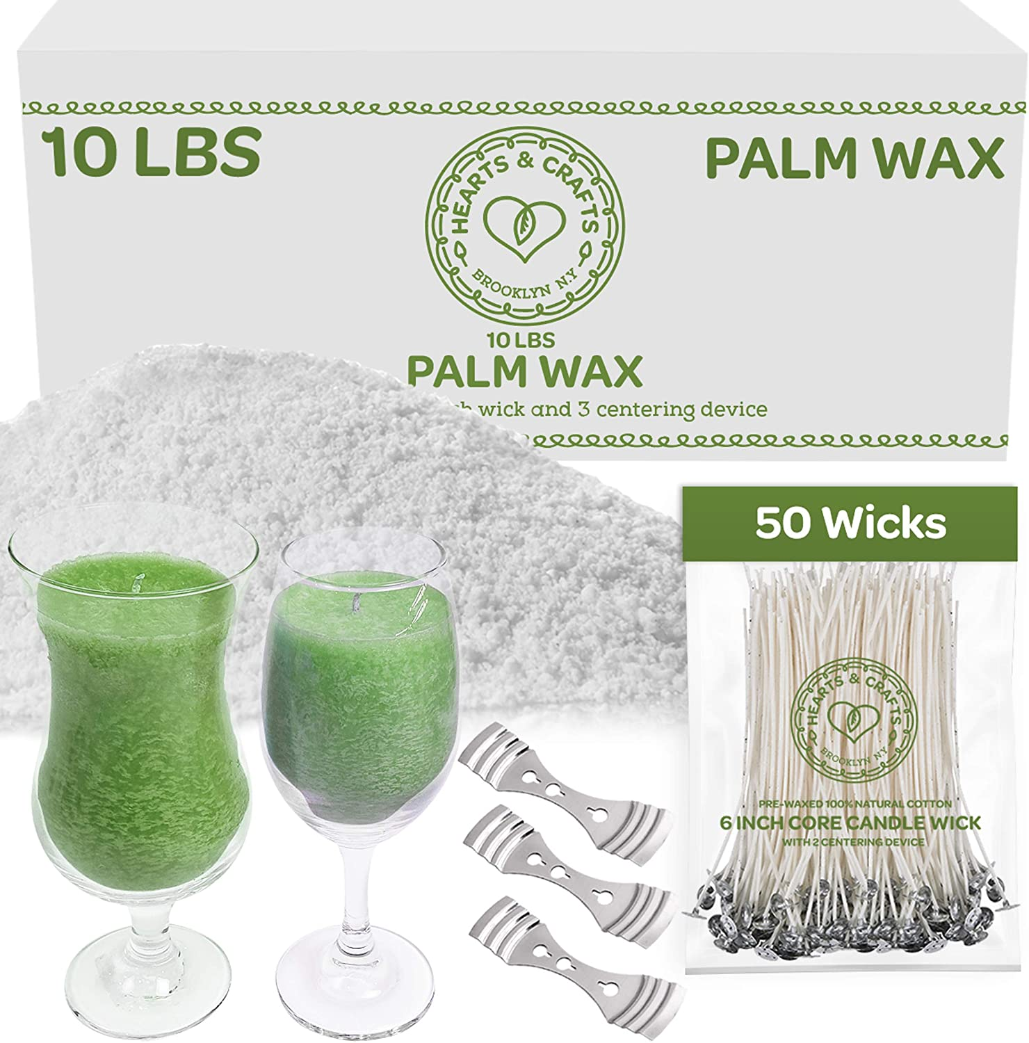 "Hearts and Crafts Feathering Palm Candle Wax and Wicks for DIY Candle Making, All-Natural & RSPO Certified - 10lb Bag with 50ct 6"" Pre-Waxed Candle Wicks, 3 Centering Device"