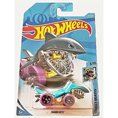 Hot Wheels 2020 50th Anniversary Street Beasts Shark Bite (Shark Car) 164/365, Aqua Blue: Toys & Games