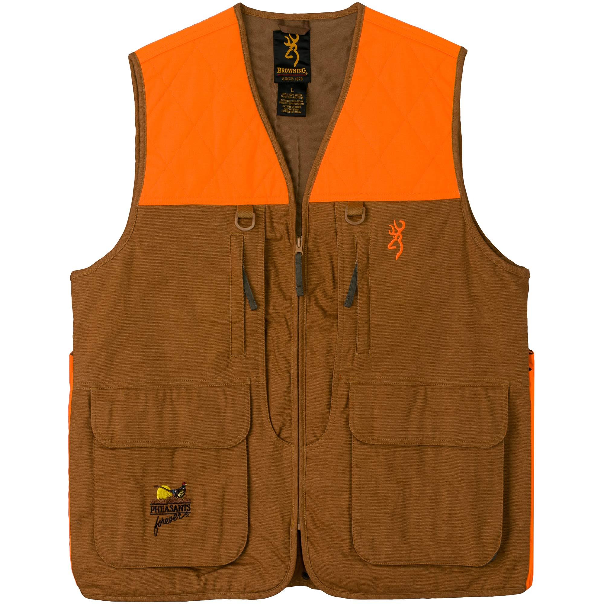 Browning Pheasants Forever Vest, Khaki/Blaze, Medium-Regular by Browning