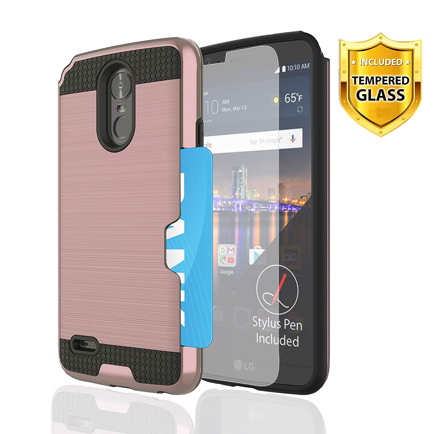 LG Stylo 3 2017 Phone Case,WINGLIKE [Credit Card Slots Holder] PC+TPU Silicone Shockproof Double Protective Cover with [Glass Screen Protector] for LG Stylo 3 Plus-Rose Gold
