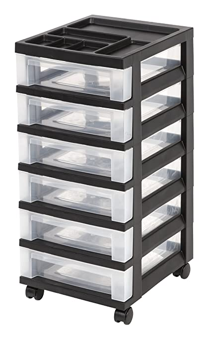 Superbe IRIS 6 Drawer Rolling Storage Cart With Organizer Top, Black