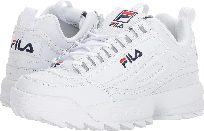 Fila Women's Disruptor II Premium Sneakers B0743VGJZ9 9.5 B(M) US|White/Filacnavy/Fila Red