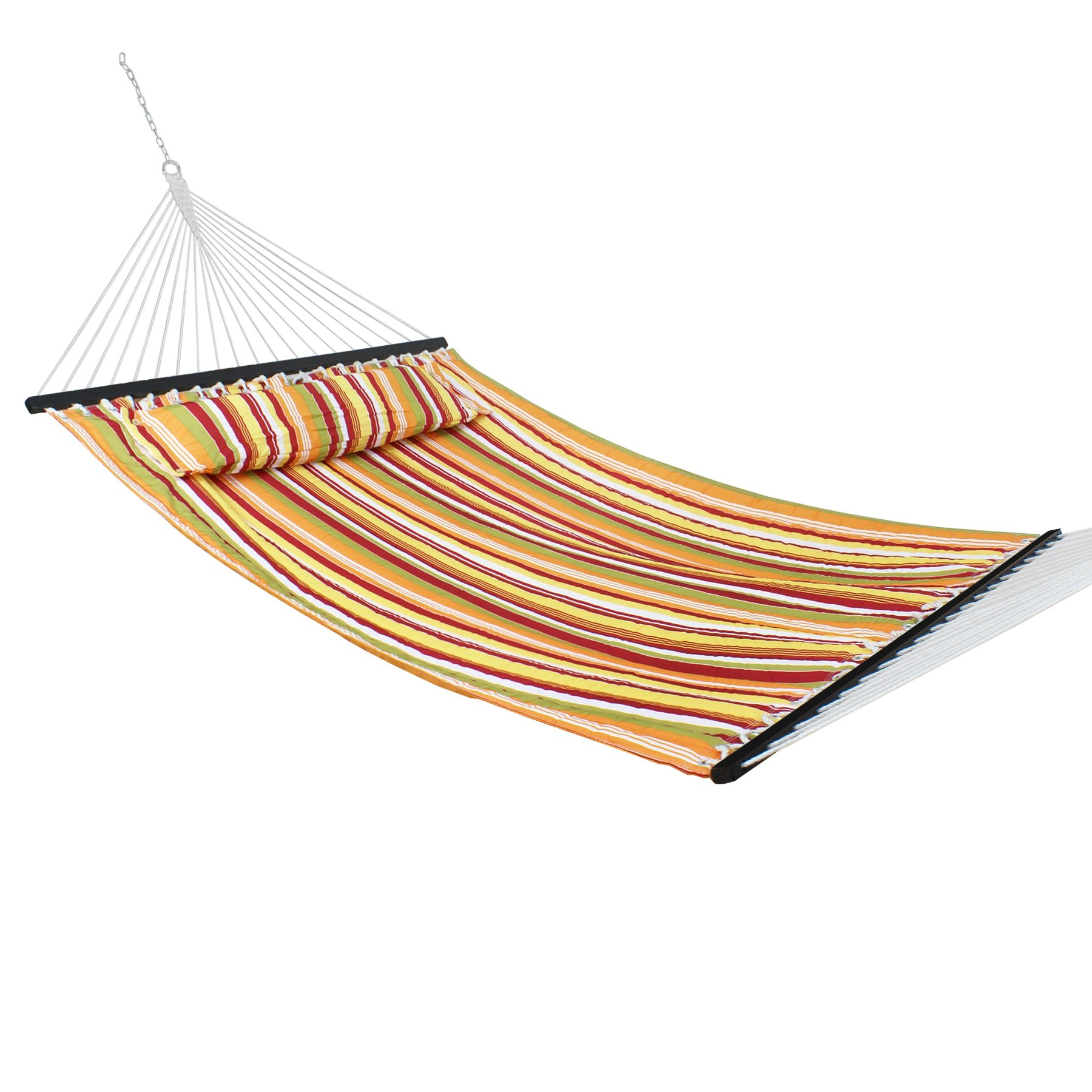 Nova Microdermabrasion Updated Quilted Fabric Hammock with Pillow Double Size Spreader Bar Heavy Duty Portable Outdoor Camping Hammock for Outdoor Patio Yard (480lbs Capacity) (Blue) (Yellow)