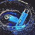 RovyVon Aurora A7 LED Keychain Flashlight, 550 Lumens, Cree Rechargeable Mini Torch, Fluorescent Blue,Super Bright EDC Light (Blue)
