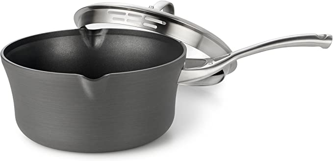 Calphalon Contemporary Hard-Anodized Aluminum Nonstick Cookware, Pour and Strain Sauce Pan, 3 1/2-quart, Black