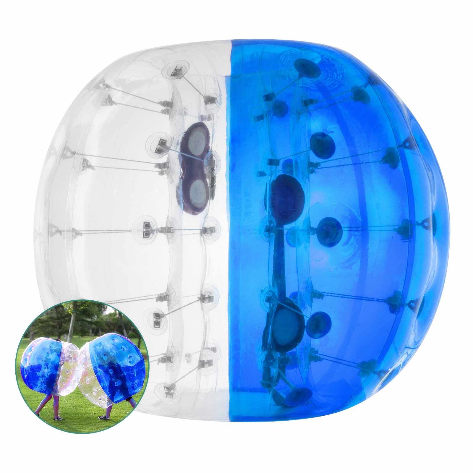 BestEquip Inflatable Bumper Ball Bubble Soccer 4FT/ 5FT for Adult Balls Human and Child Outdoor Inflatable Bumper Ball (Blue and Transparent, 5ft) by BestEquip (Image #1)