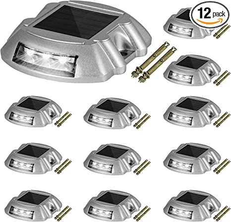 Solar Deck Lights Driveway Lights Solar Deck Light Led 1 Pack for Sidewalk White