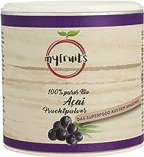 myfruits® Bio Acai Pulver - gefriergetrocknet, ohne Zusätze, dunkelviolett. Das Superfood aus dem Amazonas. Aus 1,8 kg frischen Acai Beeren (100g)